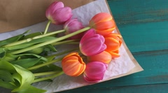 Tulip flowes bouqet with card 4K Stock Footage