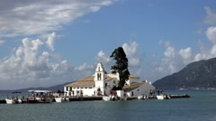 4K Timelapse touristic boat sail to Vlacherna Monastery in Corfu landmark iconic Stock Footage