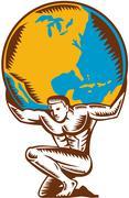 Atlas Lifting Globe Kneeling Woodcut Stock Illustration