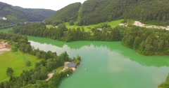 Aerial view lake Klaus, Upper Austria, Austria Stock Footage