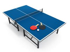 3D illustration of Ping pong table, rackets and ball. Piirros