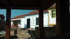 House and church in old traditional village Stock Footage