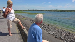 Mature couple looking the endless horizon on lake shore. Stock Footage