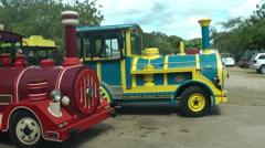 Wooden trains for tourists, La Romana in Dominican Republic Stock Footage