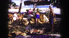 1958: Tall Hawaiian palm trees at hotel resort luau aftermath. HONOLULU, HAWAII Stock Footage