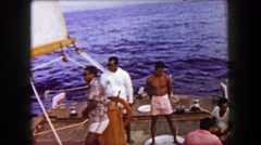 1958: Private ocean cruise bumpy sunset boat tour Hawaiian cloudy dark day. Stock Footage