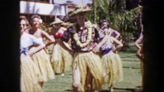 1958: Solo man closeup taking Hawaiian hula dance lessons on hotel resort Stock Footage