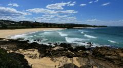 Australia beach with rock foreground at Kianga pan Stock Footage