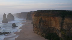 Australia Great Ocean Road 12 Apostles late afternoon pan Stock Footage