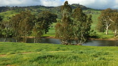 Australia Murray River in green countryside pan - stock footage