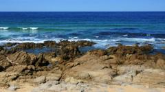 Australia wave cut terrace with waves at Kianga pan Stock Footage