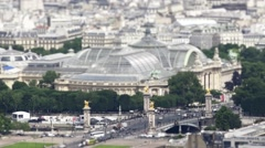 Aerial Shot Traffic At Pont Alexander III And Grand Palais In Paris, Tilt Shift Stock Footage