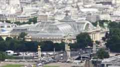 Aerial Shot Grand Palais And Pont Alexander III With Traffic, Paris Stock Footage