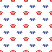 Retro Phone Pattern. Silhouette of Old Telephone Stock Illustration
