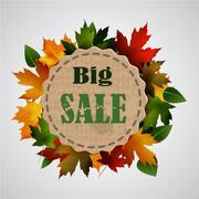 Maple leaf frame for seasonal sales Stock Illustration