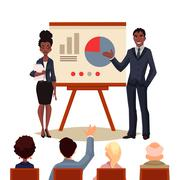 African American businessman and businesswoman holding presentation - stock illustration
