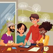 Multiethnic group of young creative people brainstorming ideas in office Stock Illustration