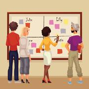 Young creative business people brainstorming ideas at the board Stock Illustration