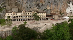 The Monastery of Ostrog is the Serbian Orthodox Church in Montenegro Stock Footage