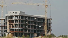 Construct. site during the day: building under construction Stock Footage