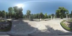 4K 360VR video, Spain Aranjuez fountain in Island park of  Royal Palace. Stock Footage