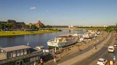 DRESDEN, GERMANY New bridge over Elba river. Stock Footage