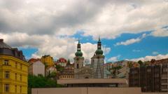 Karlovy Vary (Carlsbad) Czech Republic. Mary Magdalene Church close-up Stock Footage