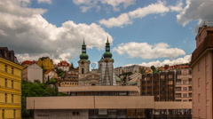 Karlovy Vary (Carlsbad) Czech Republic. Mary Magdalene Church close-up. Stock Footage