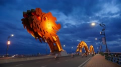 Dragon Bridge, 4K sunset time lapse, modern architecture, Asian design, Vietnam Stock Footage