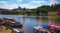 River boats in Prague town, 4k timelapse Stock Footage
