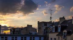 4k apartment roofs europian city sunset timelapse Stock Footage