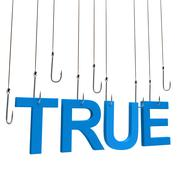 "Text ""TRUE""  hanging on a fishing hook. Isolated over white Stock Illustration"