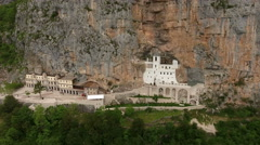 Ostrog upper monastery with square is in Ostroska Greda, Montenegro Stock Footage
