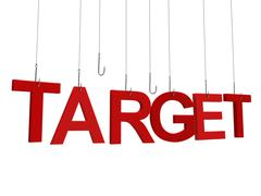 "Text ""Target"" hanging on a fishing hook. Isolated on white background. Stock Illustration"