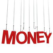 "Text ""Money"" hanging on a fishing hook. Isolated on white background. Stock Illustration"