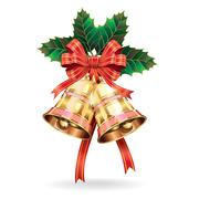 Christmas decoration. Bells and holly leaf. Vector illustration Stock Illustration