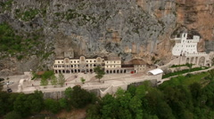 The Monastery of Ostrog in the large rock of Ostroska Greda, Montenegro Stock Footage