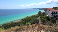 Views to Toroneos Bay from the Afytos 'stone-built balcony'. Chalcidice, Greece Stock Footage