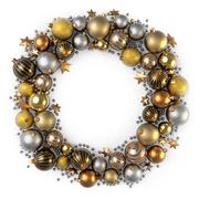 Christmas wreath decoration from gold color bubbles. Stock Illustration