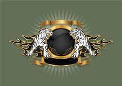 Emblem of the tiger coat of arm. Stock Illustration
