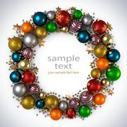 Christmas wreath decoration from color bubbles. Stock Illustration