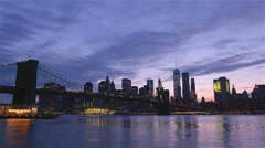 View of Brooklyn Bridge with the distinctive New York skyline Stock Footage