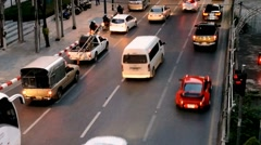 Time Lapse of Bangkok street with cars moving very fast in Sathorn area Stock Footage