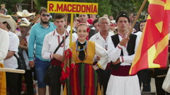 Macedonian girl in traditional costume at the International Folklore Festival Stock Footage