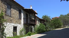 Aged houses in the Old Nikiti village. Chalcidice, Greece Stock Footage