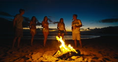 Friends Dancing at Bonfire Beach Party Arkistovideo