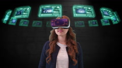 Casual Asian female and virtual reality technology Stock Footage