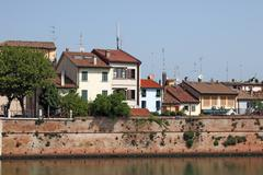 Old houses on the Porto Canale Rimini Italy Stock Photos