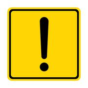 Hazard warning sign with square symbol isolated on white background. Stock Illustration