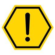 Hazard warning sign with hexagon symbol isolated on white background. Stock Illustration